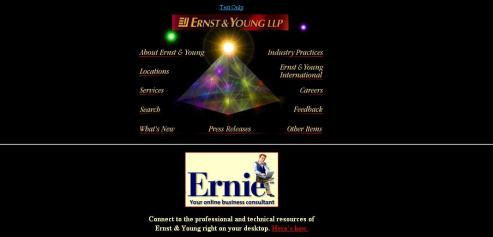 "Ernst & Young, circa 1996 | ""I really like the sparkling pyramid here - it really conveys a sense of prestige and power. Also, Ernie looks like a guy you can trust for advice."" 